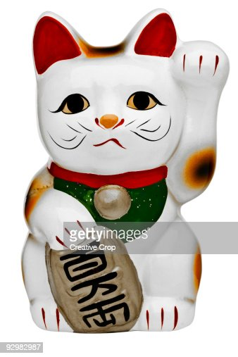 Japanese porcelain lucky cat (Maneki Neko)  : Stock Photo