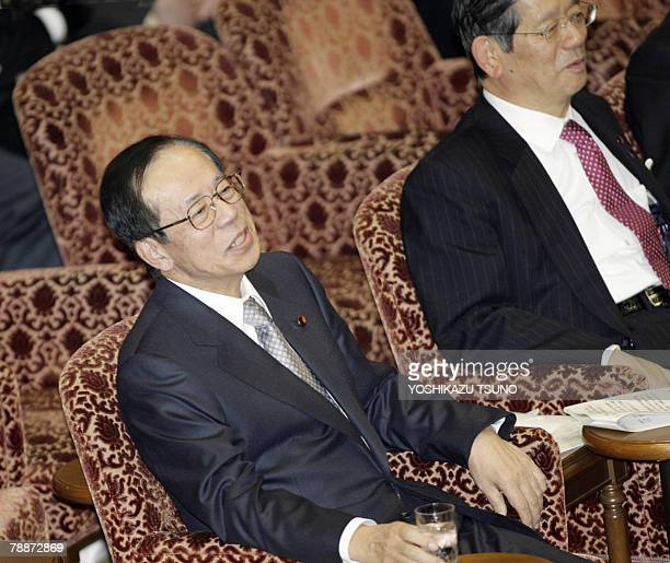 Japanese Prime Minisrter Yasuo Fukuda and Chief Cabinet Secretary Nobutaka Machimura during the Upper House's committee session to resume a disputed...
