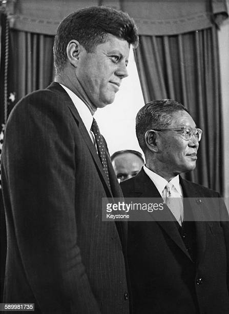 Japanese Prime Minister Hayato Ikeda at the White House with US President John F Kennedy for talks Washington DC 20th June 1961