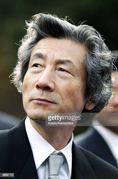 Japanese Prime Minister Junichiro Koizumi makes a New Years visit to the Ise Shrine January 4 2002 in Mie Prefecture Japan The Premier was...
