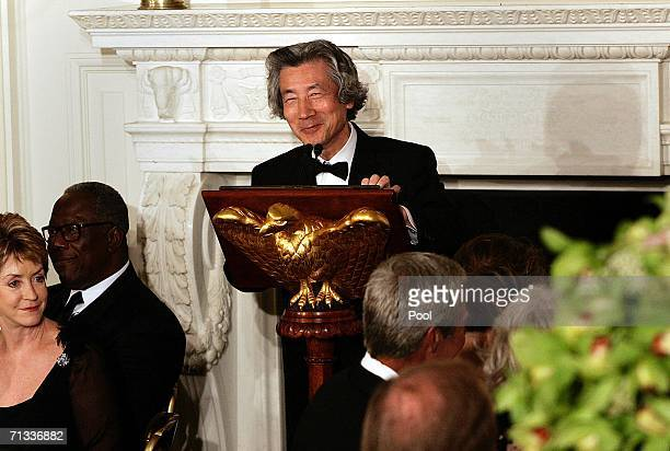 Japanese Prime Minister Junichiro Koizumi speaks at state dinner hosted by US President George W Bush and first lady Laura Bush at the White House...