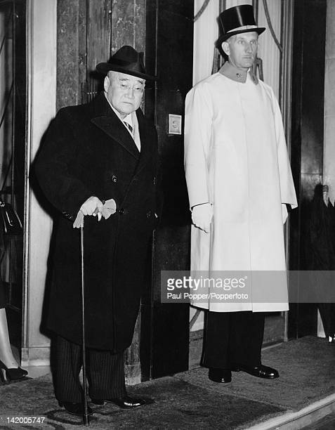 Japanese Prime Minister Shigeru Yoshida leaves Claridge's Hotel in London to dine at the House of Lords 22nd October 1954 He will be a guest of his...