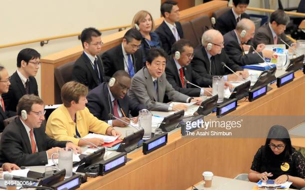 Japanese Prime Minister Shinzo Abe addresses during a session of the Sustainable Development Goals on September 18 2017 in New York City Abe is on...