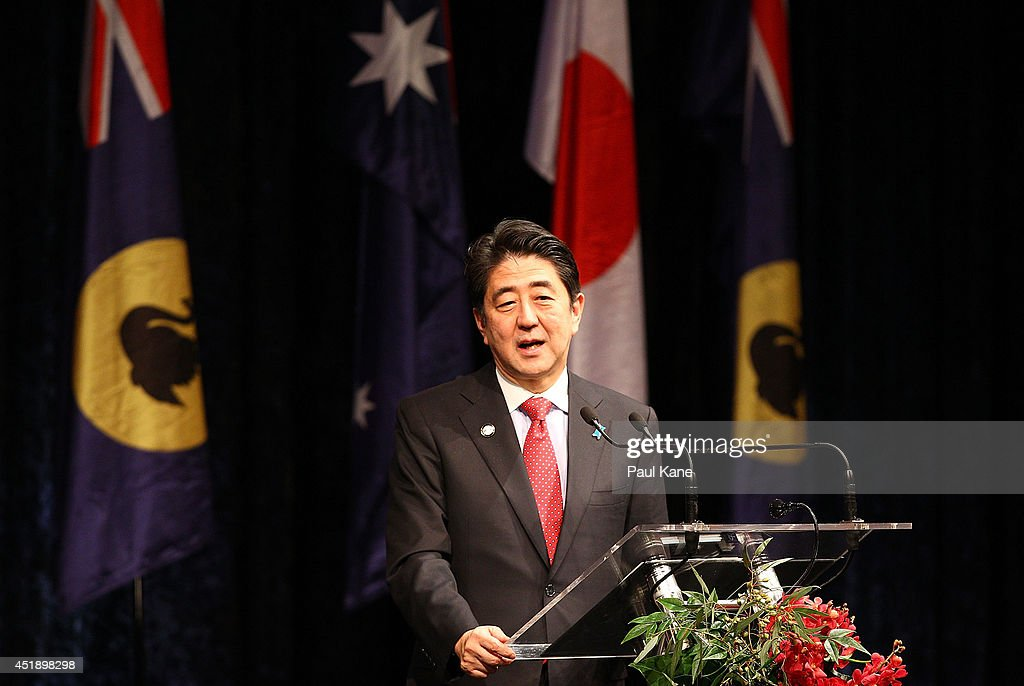 Japanese Prime Minister Shinzo Abe addresses invited guests during an official dinner at the Crown Perth on July 9 2014 in Perth Australia Prime...
