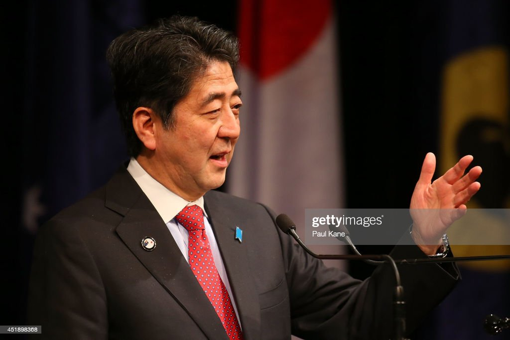 Japanese Prime Minister Shinzo Abe addresses invited guests during an official dinner at the Crown Perth on July 9, 2014 in Perth, Australia. Prime Minister Abe is in Australia for three days and will sign an Economic Partnership Agreement with Australia. Japan is Australia's second biggest trading partner.
