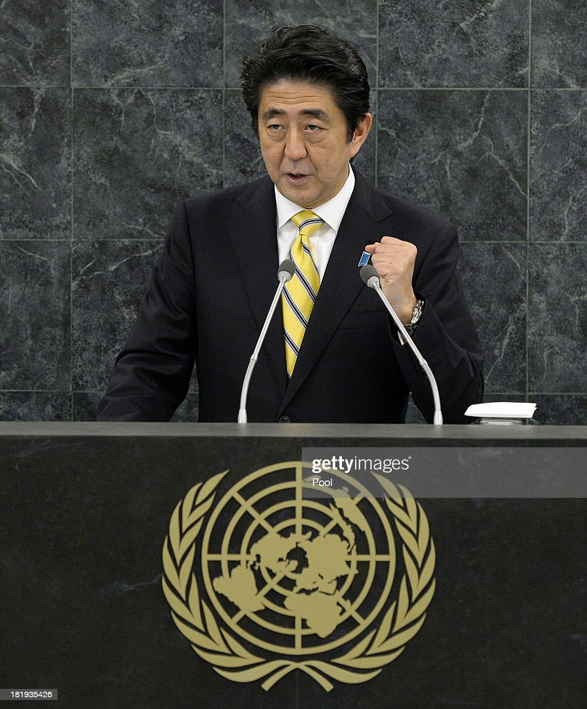 Japanese Prime Minister Shinzo Abe addresses the 68th United Nations General Assembly at U.N. headquarters on September 26, 2013 in New York City. Over 120 prime ministers, presidents and monarchs are gathering this week for the annual meeting at the temporary General Assembly Hall at the U.N. headquarters while the General Assembly Building is closed for renovations.