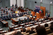 Japanese Prime Minister Shinzo Abe addresses the House of Representatives at Parliament House on July 8 2014 in Canberra Australia Prime Minister is...