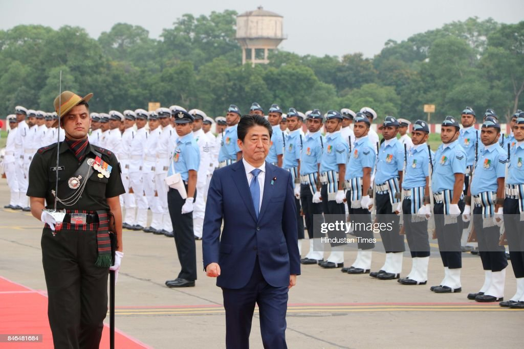 Japanese Prime Minister Shinzo Abe after his arrival at airport, on September 13, 2017 in Ahmadabad, India. Japanese Prime Minister Shinzo Abe arrived in Ahmedabad on Wednesday at the start of a two-day visit to host Prime Minister Narendra Modi's home state of Gujarat, with the two leaders aiming to further shore up economic and strategic ties between their nations.