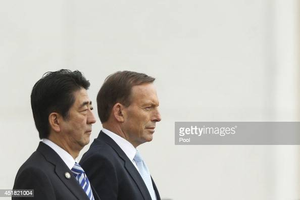 Japanese Prime Minister Shinzo Abe and Australian Prime Minster Tony Abbott attend a Ceremonial Welcome at Parliament House on July 8 2014 in...