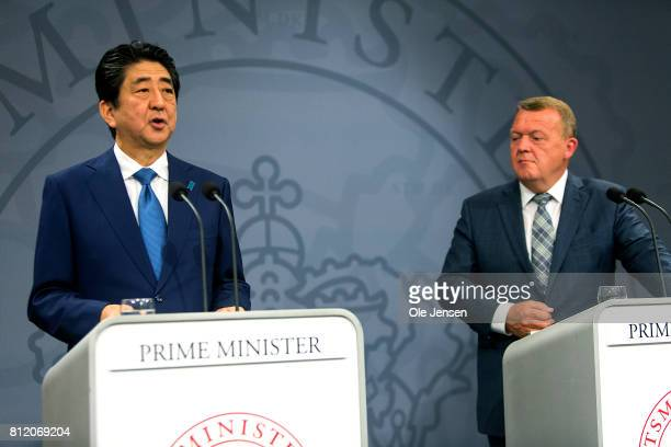 Japanese Prime Minister Shinzo Abe and Danish Prime Minister Lars Loekke Rasmussen holds a joint press conference at the PM's Office on July 10 2017...