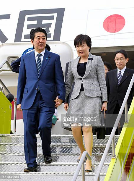 Japanese Prime Minister Shinzo Abe and first lady Akie Abe are seen upon arrival at Boston Logan International Airport on April 26 2015 in Boston...
