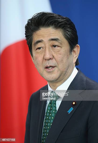 Japanese Prime Minister Shinzo Abe and German Chancellor Angela Merkel speak to the media following talks at the Chancellery on April 30 2014 in...