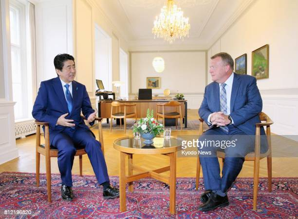 Japanese Prime Minister Shinzo Abe and his Danish counterpart Lars Loekke Rasmussen hold talks in Copenhagen on July 10 2017 They agreed to step up...
