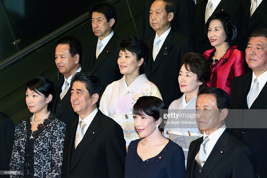Japanese Prime Minister <a gi-track='captionPersonalityLinkClicked' href=/galleries/search?phrase=Shinzo+Abe&family=editorial&specificpeople=559017 ng-click='$event.stopPropagation()'>Shinzo Abe</a> (bottom 2nd left) and his new Cabinet members (from bottom left) Trade Minister Yuko Obuchi, Internal Affairs Minister <a gi-track='captionPersonalityLinkClicked' href=/galleries/search?phrase=Sanae+Takaichi&family=editorial&specificpeople=3250453 ng-click='$event.stopPropagation()'>Sanae Takaichi</a>, Deputy Prime Minister, Finance Minister <a gi-track='captionPersonalityLinkClicked' href=/galleries/search?phrase=Taro+Aso&family=editorial&specificpeople=559212 ng-click='$event.stopPropagation()'>Taro Aso</a>, Minister in charge of Economic Revitalization <a gi-track='captionPersonalityLinkClicked' href=/galleries/search?phrase=Akira+Amari&family=editorial&specificpeople=3868034 ng-click='$event.stopPropagation()'>Akira Amari</a>, Minister in charge of Promoting Women Haruko Arimura, Minister in charge of Japanese Abducted by North Korea <a gi-track='captionPersonalityLinkClicked' href=/galleries/search?phrase=Eriko+Yamatani&family=editorial&specificpeople=9651049 ng-click='$event.stopPropagation()'>Eriko Yamatani</a>, Minister in charge of Regional Revitalization <a gi-track='captionPersonalityLinkClicked' href=/galleries/search?phrase=Shigeru+Ishiba&family=editorial&specificpeople=2921096 ng-click='$event.stopPropagation()'>Shigeru Ishiba</a>, Health, Labor and Welfare Minister <a gi-track='captionPersonalityLinkClicked' href=/galleries/search?phrase=Yasuhisa+Shiozaki&family=editorial&specificpeople=642749 ng-click='$event.stopPropagation()'>Yasuhisa Shiozaki</a>, State Minister for Okinawa and Northern Territories Affairs, Science and Technology, Space Policy Shunichi Yamaguchi, Justice Minister <a gi-track='captionPersonalityLinkClicked' href=/galleries/search?phrase=Midori+Matsushima&family=editorial&specificpeople=4273287 ng-click='$event.stopPropagation()'>Midori 