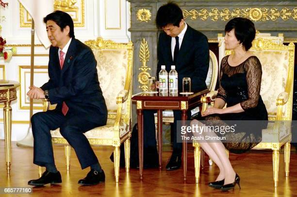 Japanese Prime Minister Shinzo Abe and his wife Akie are seen during their meeting with King Felipe VI and Queen Letizia of Spain at the Akasaka...