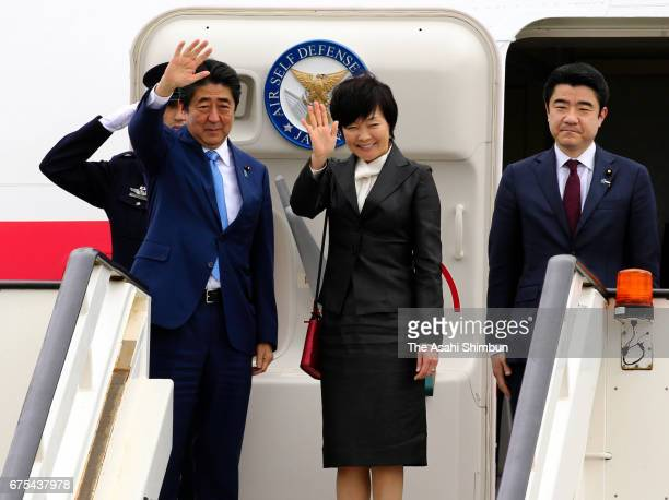 Japanese Prime Minister Shinzo Abe and his wife Akie are seen on departure at Heathrow Airport on April 29 2017 in London United Kingdom Abe is on a...