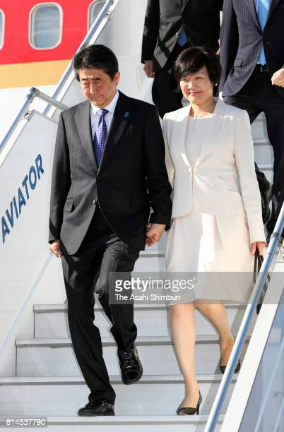 Japanese Prime Minister Shinzo Abe and his wife Akie are seen on arrival at Helsinki Vantaa Airport on July 9 2017 in Helsinki Finland Abe is on 8day...