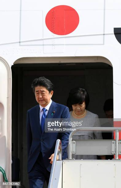 Japanese Prime Minister Shinzo Abe and his wife Akie are seen on arrival at Haneda International Airport after visiting India on September 15 2017 in...