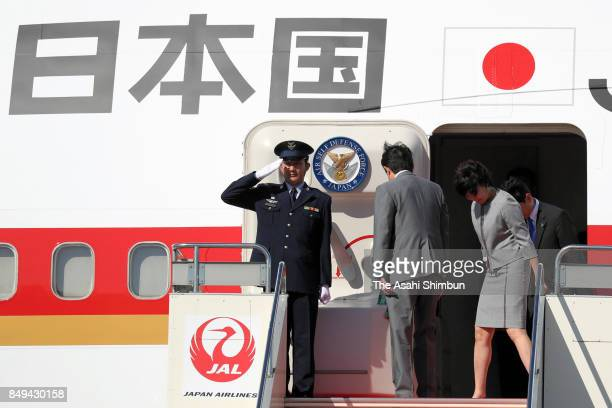 Japanese Prime Minister Shinzo Abe and his wife Akie are seen on departure at Haneda International Airport on September 18 2017 in Tokyo Japan Abe is...