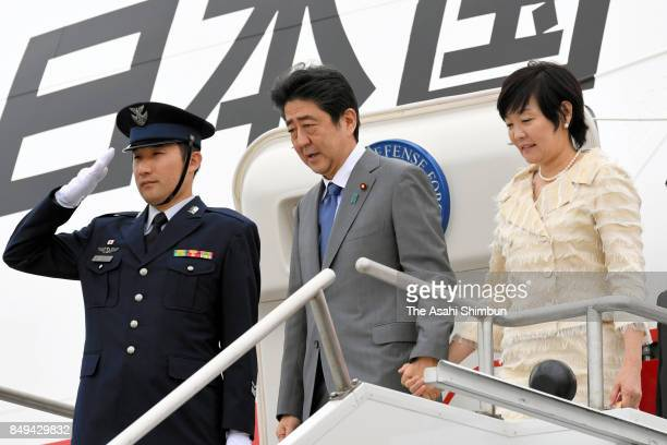 Japanese Prime Minister Shinzo Abe and his wife Akie are seen on arrival on September 18 2017 in New York City Abe is on 5day tour to the United...
