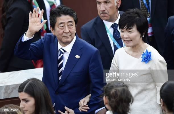 Japanese Prime Minister Shinzo Abe and his wife Akie arrive for a concert of La Scala Philharmonic Orchestra at the ancient Greek Theatre of Taormina...