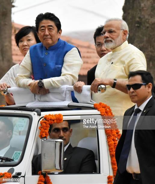 Japanese Prime Minister Shinzo Abe and Indian Prime Minister Narendra Modi visit the Sabarmati Ashram on September 13 2017 in Ahmedabad India Abe is...