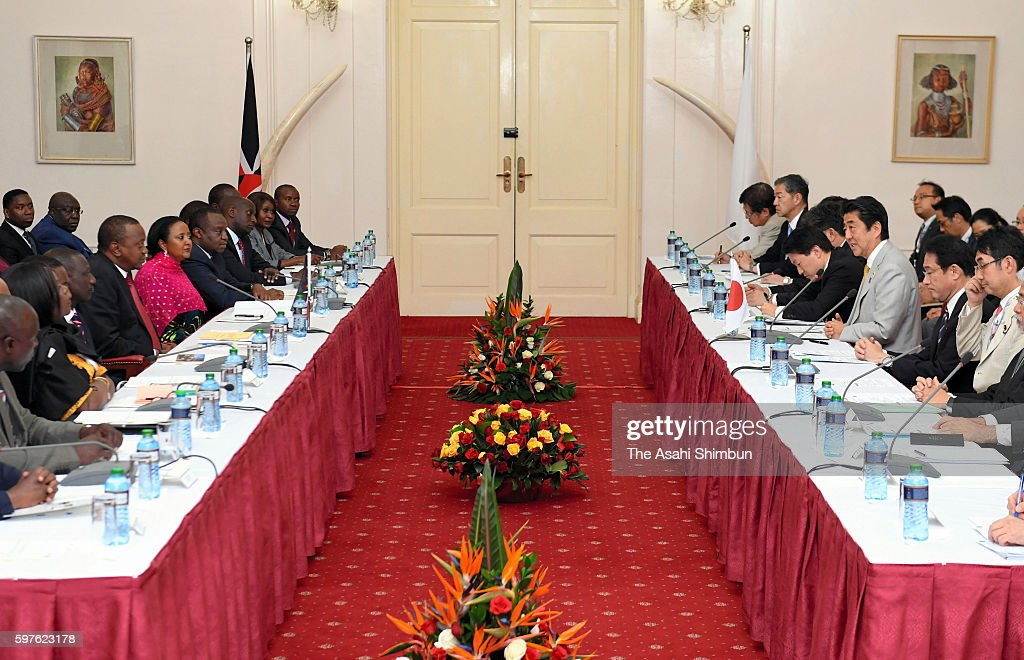 Japanese Prime Minister Shinzo Abe and Kenyan President Uhuru Kenyatta hold a meeting on the sidelines of the Tokyo International Conference on...