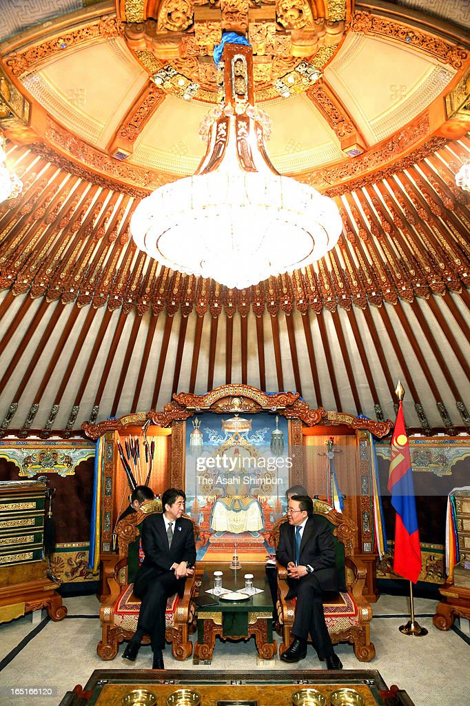Japanese Prime Minister SHinzo Abe and Mongolian President Tsakhia Elbegdorj talk during their bilateral summit on March 30, 2013 in Ulan Bator, Mongolia. Abe is on two-day tour to Mongolia to strengthen their bilateral relationship.