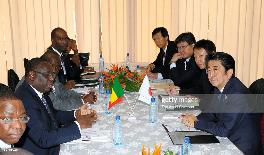 Japanese Prime Minister Shinzo Abe and Senegalese President Macky Sall hold talks on the sidelines of the Tokyo International Conference on African...