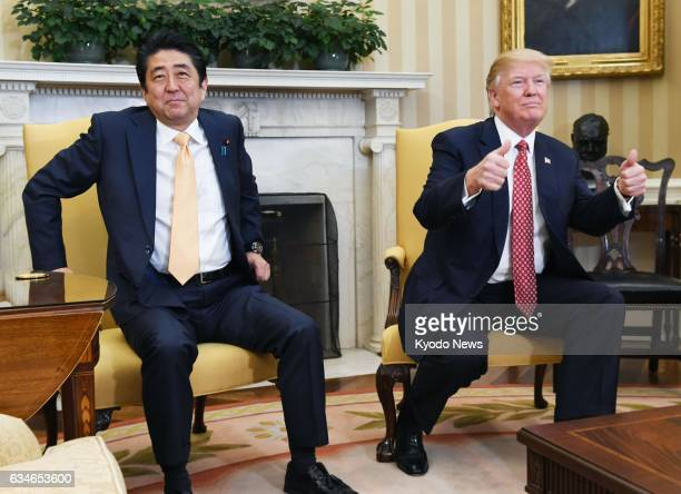 Japanese Prime Minister Shinzo Abe and US President Donald Trump get ready for their talks at the White House in Washington on Feb 10 2017
