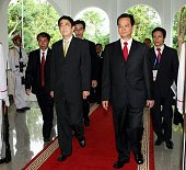 Japanese Prime Minister Shinzo Abe and Vietnamese Prime Minister Nguyen Tan Dung are seen prior to their bilateral meeting on the sidelines of the...