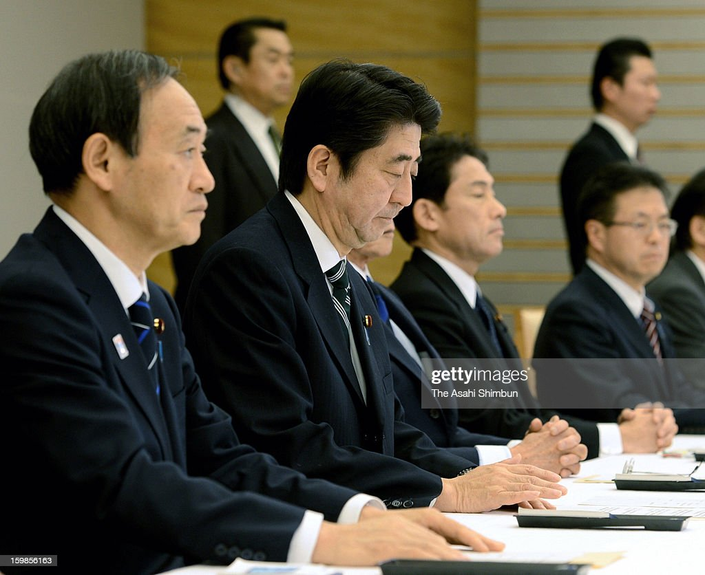 Japanese Prime Minister <a gi-track='captionPersonalityLinkClicked' href=/galleries/search?phrase=Shinzo+Abe&family=editorial&specificpeople=559017 ng-click='$event.stopPropagation()'>Shinzo Abe</a> announces that the death of seven Japanese nationals during an emergency meeting on Japanese hostage crisis at Algerian plant at his official residence on January 21, 2013 in Tokyo, Japan. Japanese government officials, president and staffs of Japanese plant constructor JGC Co, who are in In Anemas confirmed seven Japanese nationals were killed in the Algerian hostage crisis.