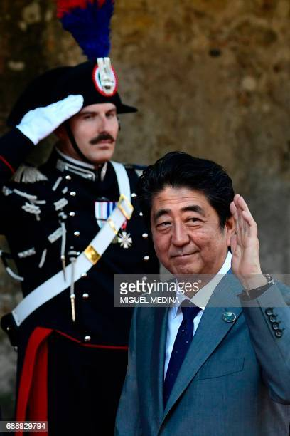Japanese Prime Minister Shinzo Abe arrives at the Hotel San Domenico on the second day of the G7 summit of Heads of State and of Government on May 27...
