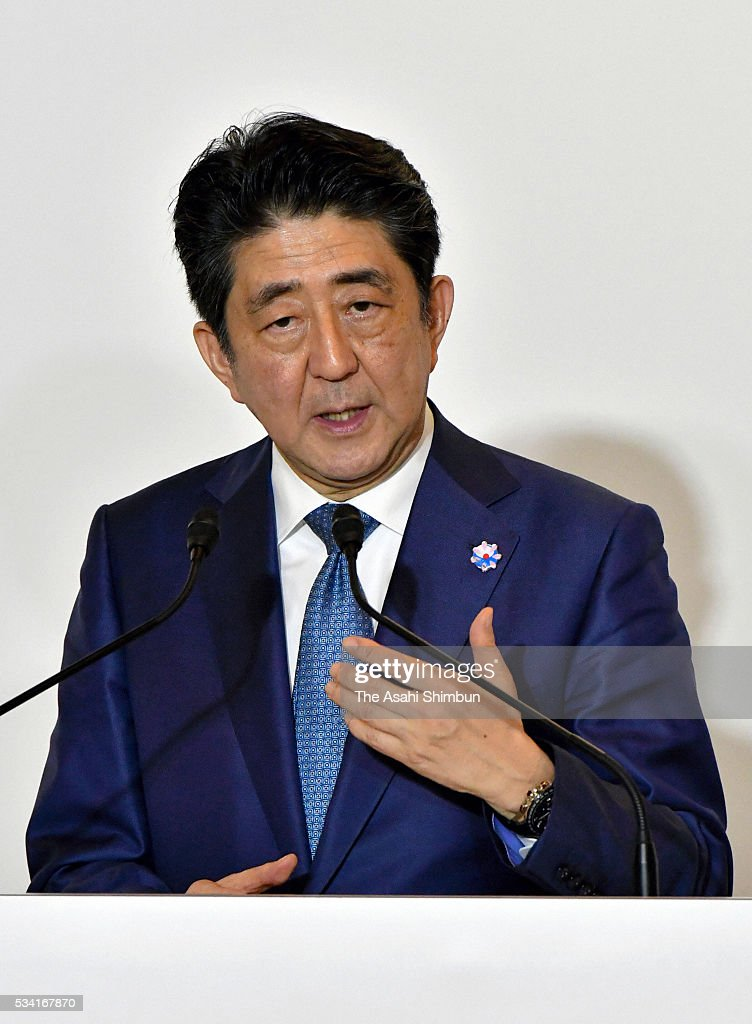 Japanese Prime Minister <a gi-track='captionPersonalityLinkClicked' href=/galleries/search?phrase=Shinzo+Abe&family=editorial&specificpeople=559017 ng-click='$event.stopPropagation()'>Shinzo Abe</a> attends a joint press conference following the bilateral meeting with U.S. President Barack Obama ahead of the Group of Seven summit on May 25, 2016 in Shima, Mie, Japan. Obama expressed deep remorse for the recent incident in which a U.S. civilian working at a U.S. military base was arrested in connection with the slaying of a young woman in Okinawa. The Group of Seven summit takes place on May 26 and 27 to discuss key global issues such as global economy and anti terrorism measures.