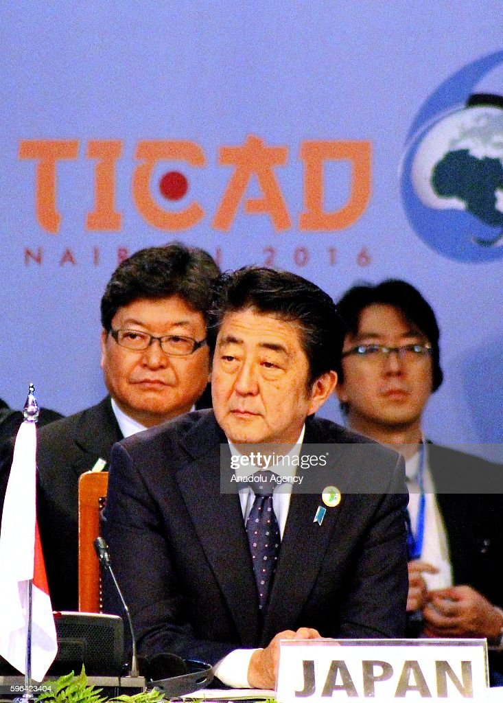 Japanese Prime Minister Shinzo Abe attends the sixth Tokyo International Conference on African Development at Kenyatta International Convention...