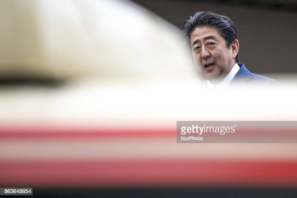 Japanese Prime Minister Shinzo Abe delivers a campaign speech for a candidate of his his ruling Liberal Democratic Party during the Lower House...
