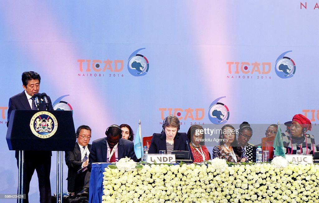Japanese Prime Minister Shinzo Abe delivers a speech during the sixth Tokyo International Conference on African Development at Kenyatta International...