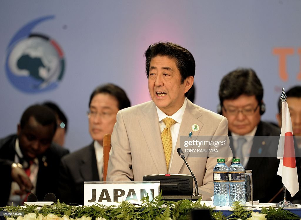 Japanese Prime Minister Shinzo Abe delivers his closing remarks at the end of the sixth Tokyo International Conference on African Development in...