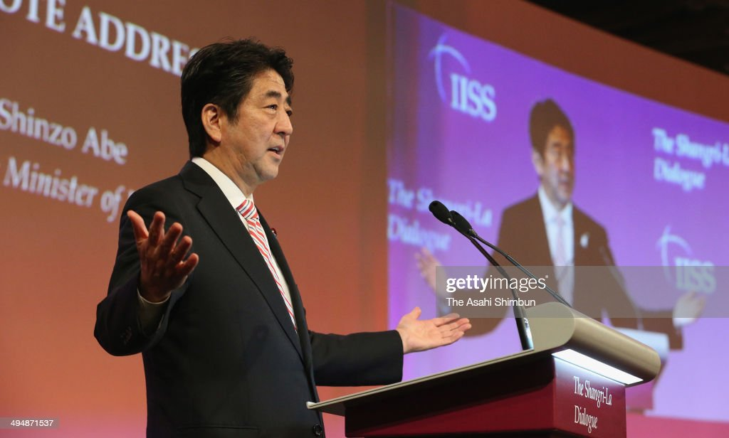 Japanese Prime Minister <a gi-track='captionPersonalityLinkClicked' href=/galleries/search?phrase=Shinzo+Abe&family=editorial&specificpeople=559017 ng-click='$event.stopPropagation()'>Shinzo Abe</a> delivers his keynote speech during the Asia Security Summit on May 30, 2014 in Singapore.