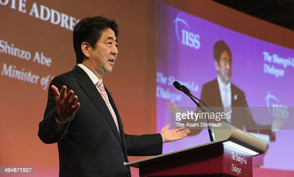 Japanese Prime Minister Shinzo Abe delivers his keynote speech during the Asia Security Summit on May 30 2014 in Singapore