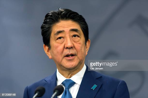 Japanese Prime Minister Shinzo Abe during his meeting with Danish Prime Minister Lars Loekke Rasmussen at the PM's Office on July 10 2017 in...