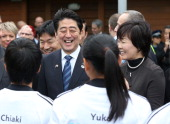 Japanese Prime Minister Shinzo Abe his wife Akie at Villa Maria Winery to meet with English students from a new edusport programme on July 7 2014 in...