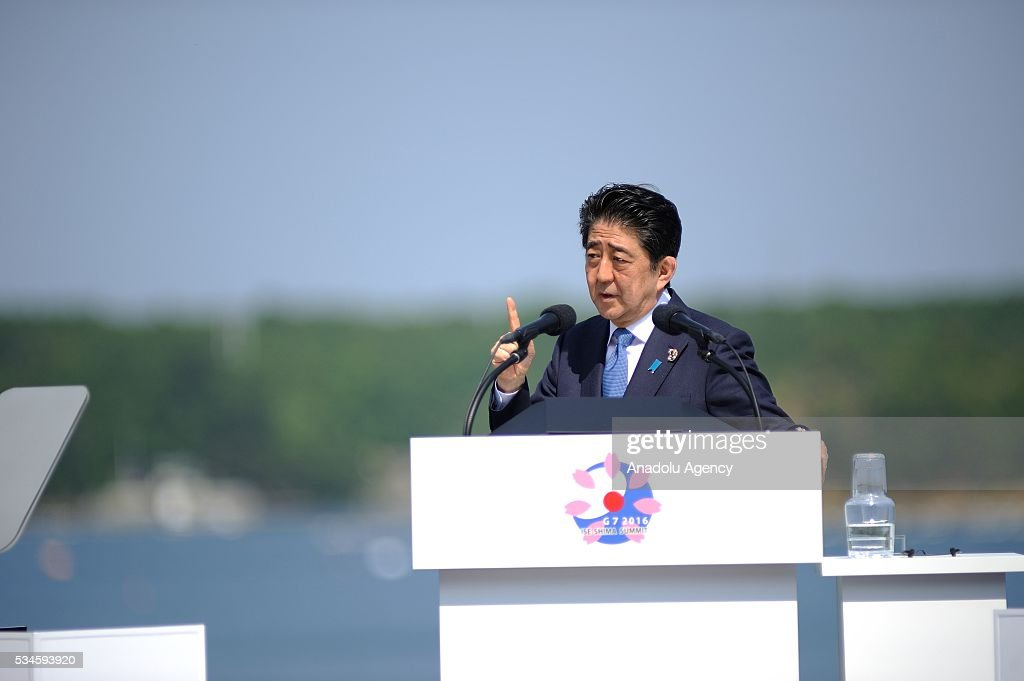 Japanese Prime Minister Shinzo Abe holds a press conference during the G7 leaders summit at the Shima Kanko Hotel in Ise, Japan on May 27, 2016.