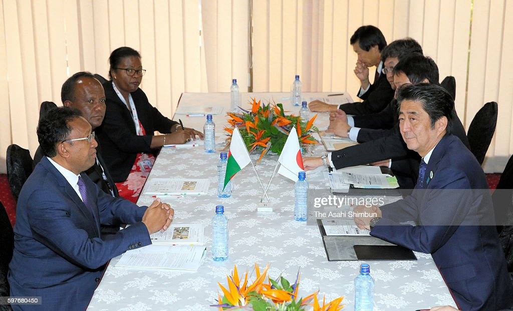 Japanese Prime Minister Shinzo Abe holds talks with Madagascar President Hery Rajaonarimampianina on the sidelines of the Tokyo International...
