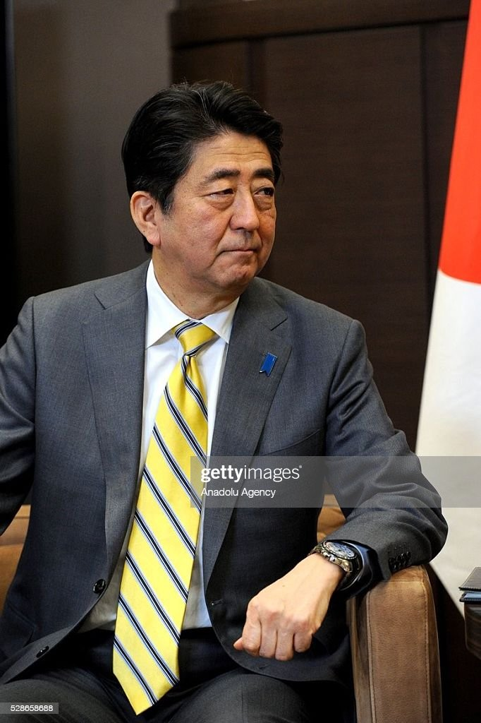 Japanese Prime Minister Shinzo Abe is seen during a meeting with Russia's President Vladimir Putin in Sochi, Russia on May 6, 2016.