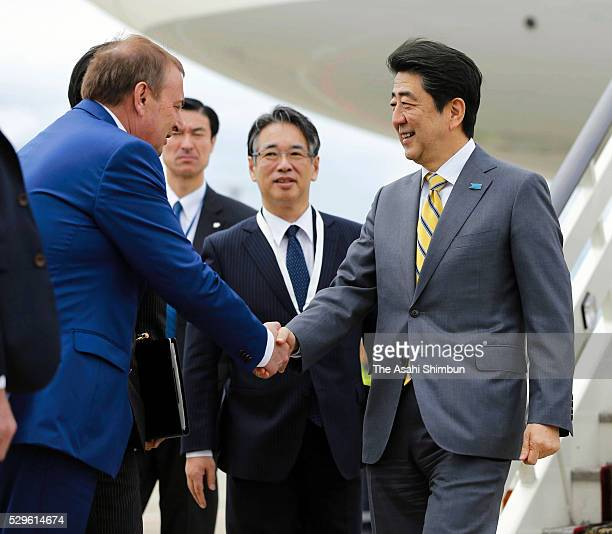 Japanese Prime Minister Shinzo Abe is seen on arrival at Sochi Airport on May 6 2016 in Sochi Russia Abe and Putin agreed to take a new approach to...