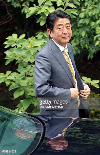 Japanese Prime Minister Shinzo Abe is seen on arrival at the meeting with Russian President Vladimir Putin on May 6 2016 in Sochi Russia Abe and...