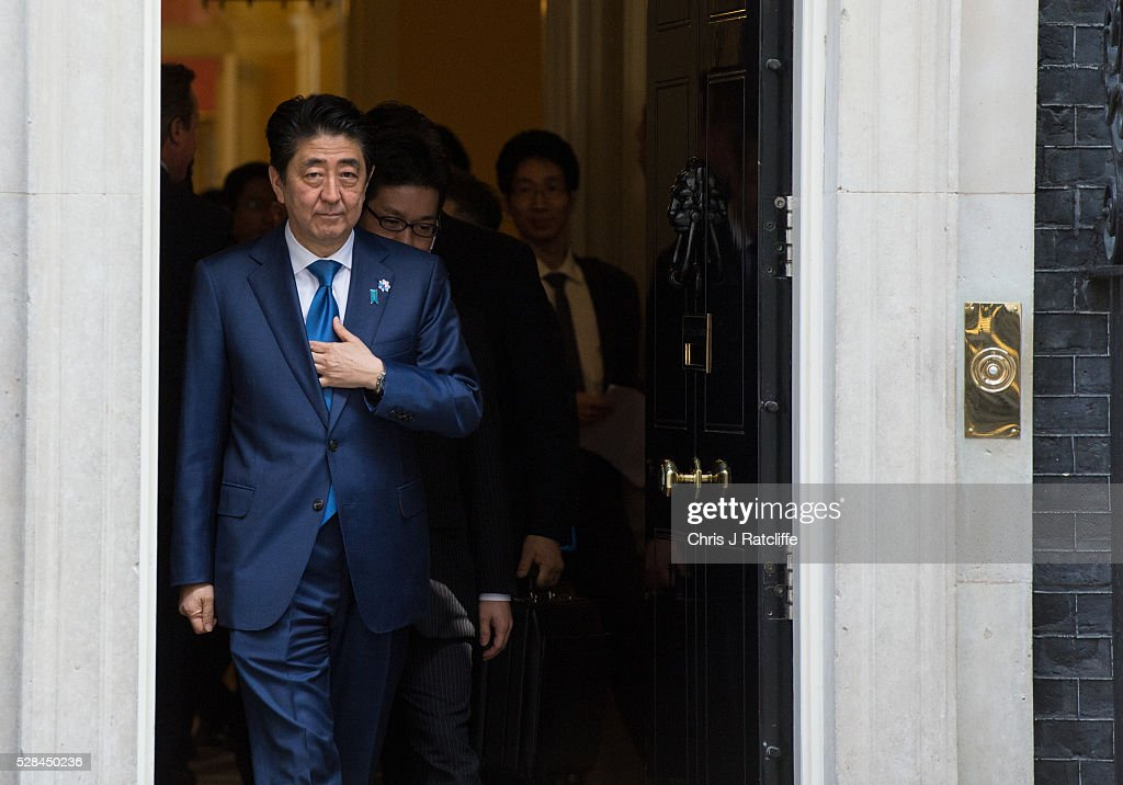 Japanese Prime Minister <a gi-track='captionPersonalityLinkClicked' href=/galleries/search?phrase=Shinzo+Abe&family=editorial&specificpeople=559017 ng-click='$event.stopPropagation()'>Shinzo Abe</a> leaves after meeting British Prime Minister <a gi-track='captionPersonalityLinkClicked' href=/galleries/search?phrase=David+Cameron+-+Politician&family=editorial&specificpeople=227076 ng-click='$event.stopPropagation()'>David Cameron</a> at 10 Downing Street on May 5, 2016 in London, England. Prime Minister <a gi-track='captionPersonalityLinkClicked' href=/galleries/search?phrase=Shinzo+Abe&family=editorial&specificpeople=559017 ng-click='$event.stopPropagation()'>Shinzo Abe</a> is on a weeklong tour of Europe and Russia ahead of hosting this month's G-7 summit.