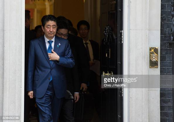 Japanese Prime Minister Shinzo Abe leaves after meeting British Prime Minister David Cameron at 10 Downing Street on May 5 2016 in London England...