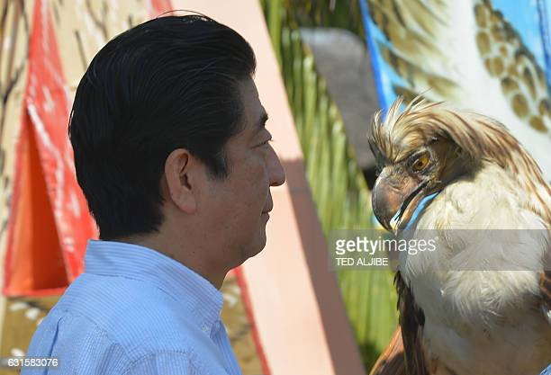 Japanese Prime Minister Shinzo Abe looks at a stuffed Philippine eagle during a ceremony in Davao City in southern island of Mindanao on January 13...